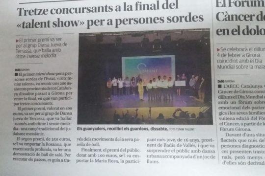 Tots tenim talent Diari de Girona Gener 2019